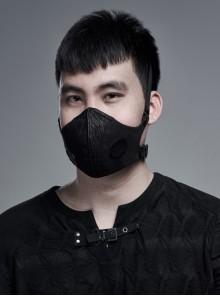 Men Front Metal Rings Mesh Decoration Black Punk Coarse Woven Mask