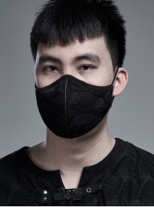 Men Front Muscle Texture Pattern Black Gothic Knit Mask