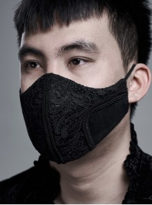 Men Front Three-Dimensional Embroidery Lace Black Gothic Dark Grain Embossed Mask