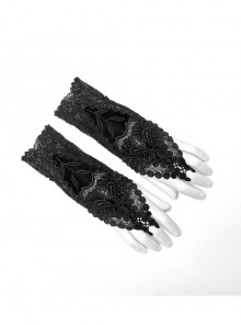 Black Gothic Front Decals Positioning Lace Flower Gloves
