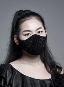 Women Front Splice Lace Mesh Side Lace-Up Black Gothic Velvet Mask