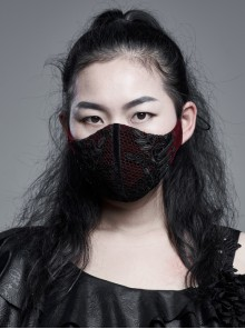 Women Front Splice Lace Mesh Side Lace-Up Wine Red Gothic Velvet Mask