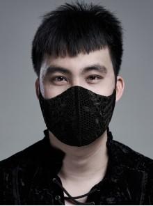 Men Front Splice Lace Mesh Side Lace-Up Black Gothic Velvet Mask