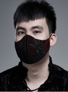 Men Front Splice Lace Mesh Side Lace-Up Wine Red Gothic Velvet Mask