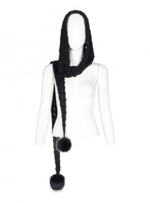 Fluffy Ball Decoration Black Gothic Hollow-Out Imitation Woven Hooded Scarf