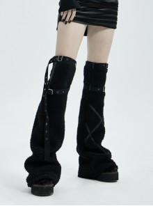 Metal Buckle Strap Black Punk Leopard Cashmere Leg Sleeve