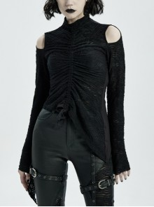 High Collar Shoulder Hollow-Out Front Lace-Up Flare Sleeve Black Gothic Knit T-Shirt