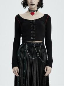 Round Collar Front Metal Square Eyelets Decoration Long Sleeve Black Punk Short Tight T-Shirt