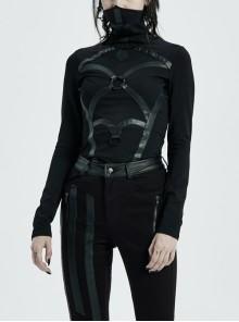 High Collar Front Metal Ring Woven Tape Decoration Long Sleeve Irregular Hem Black Punk T-Shirt
