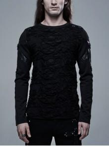 Leather Strap Decoration Long Sleeve Black Punk Broken Holes Knit T-Shirt