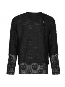 Black Punk Skull Texture Print Broken Holes Knit T-Shirt