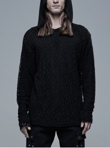Two-Piece Outer Mesh Long Sleeve T-Shirt Inner Black Punk Hooded Knit T-Shirt
