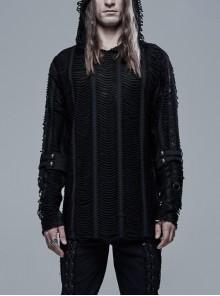 Metal Eyelets Strap Decoration Black Punk Broken Holes Knit Hooded T-Shirt