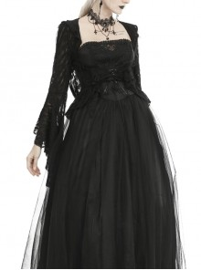 Gothic Black Ripped Lace Hooded Bell Sleeve Thin Tailcoat