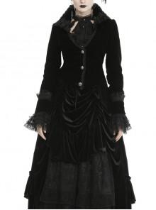 Gothic Queen Lace V-neck Black Velvet Lapel Jacket