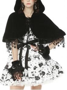 Stars Tassel Night Cat Gothic Lolita Black Hooded Cloak