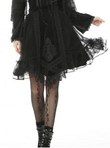 Black Velvet And Tulle Splicing Gothic Lolita Skirt
