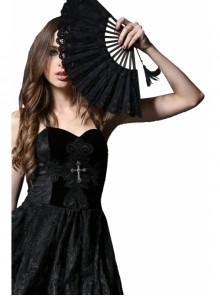 Victorian Retro Royal Black Lace Gothic Lolita Fan