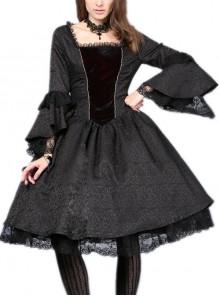 Victorian Gothic Black Jacquard Pattern Court Long Sleeve Dress