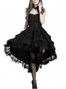 Sexy Gothic Black Lace Strapless Dovetail Dress