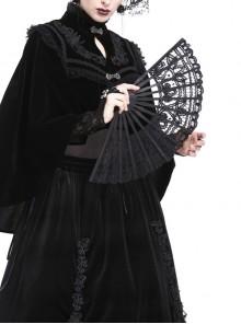 Elegant Black Lace Gothic Lolita Fan