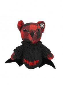 Gothic Cute Red Bat Plaid Cotton Bear Toy