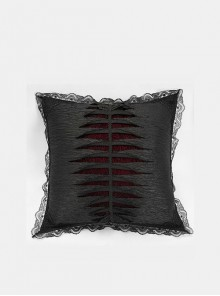 Gothic Keel Hold Black Lace Square Feather Velvet Pillow Cushion