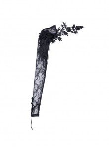 Gothic Women One Arm Black Flowers Lace Sleeves