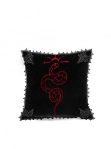 Gothic Serpent Embroidered Square Velvet Cushion Cover