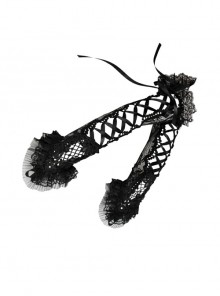 Fashion Tie-up Black Lace Gothic Long Gloves