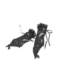 Gothic Lolita Elegant Black Embroidery Lace Gloves