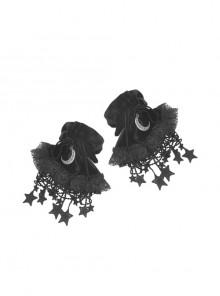 Gothic Women Fashion Lolita Black Moon Star Gloves