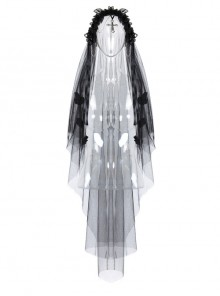 Gothic Lolita Black Lace Wedding Bride Cross Pendant Veil