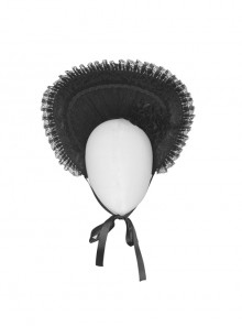 Lovely Black Lace Pure Color Hat Gothic Lolita Bonnet