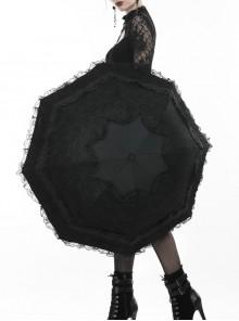 Gothic Lolita Fashion Black Lace Telescopic Umbrella