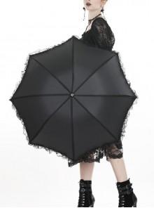 Black Lace Embellished Gothic Lolita Simplicity Telescopic Umbrella