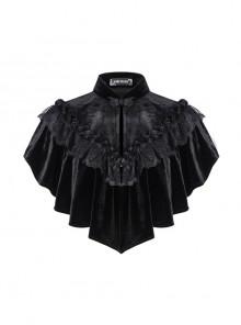 Gothic Flowers Lace Ruffle Black Velvet Heart Shaped Cape