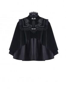 Gothic Embroidery Collar Elegant Black Velvet Cape