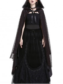 Gothic Red And Black Lace Halloween Witch Hooded Long Cloak