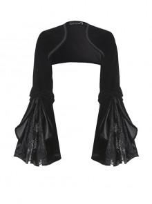 Gothic Black Velvet Long Sleeve Shoulder Cape