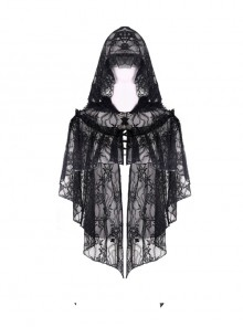 Black Embroidery Lace Gothic Gorgeous Hooded Cape