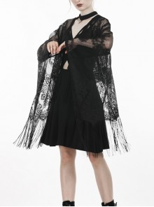 Gothic Black Hollow-out Embroidery Tassel Kimono Sleeves Tie-up Cape