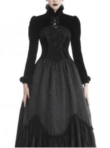 Gothic Plush Stand Collar Long Sleeve Black Warm Slim Shoulder Cape