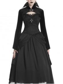 Vampire Queen Stand Collar Bat Big Sleeves Gothic Black Velvet Shoulder Cape