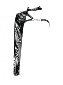 Punk Shining PU Leather One Shoulder Rivet Decoration Long Sleeve Halter Cape