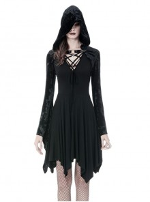 Gothic Black Shining Velvet Long Sleeve Hooded Witch Shoulder Cape