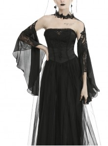 Gorgeous Black Tulle Sleeves Gothic Halter Shoulder Cape