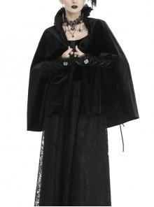 Gothic Black Velvet Gorgeous Warm Stand Collar Bolero Cape