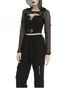 Black Fishnet Hooded Punk Long Sleeve Shoulder Cape