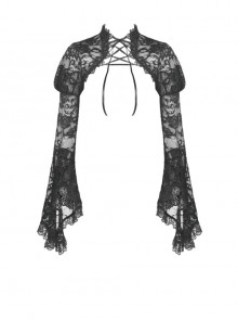 Gothic Black Lace Big Long Sleeves Sexy Slim Tie-up Shoulder Cape